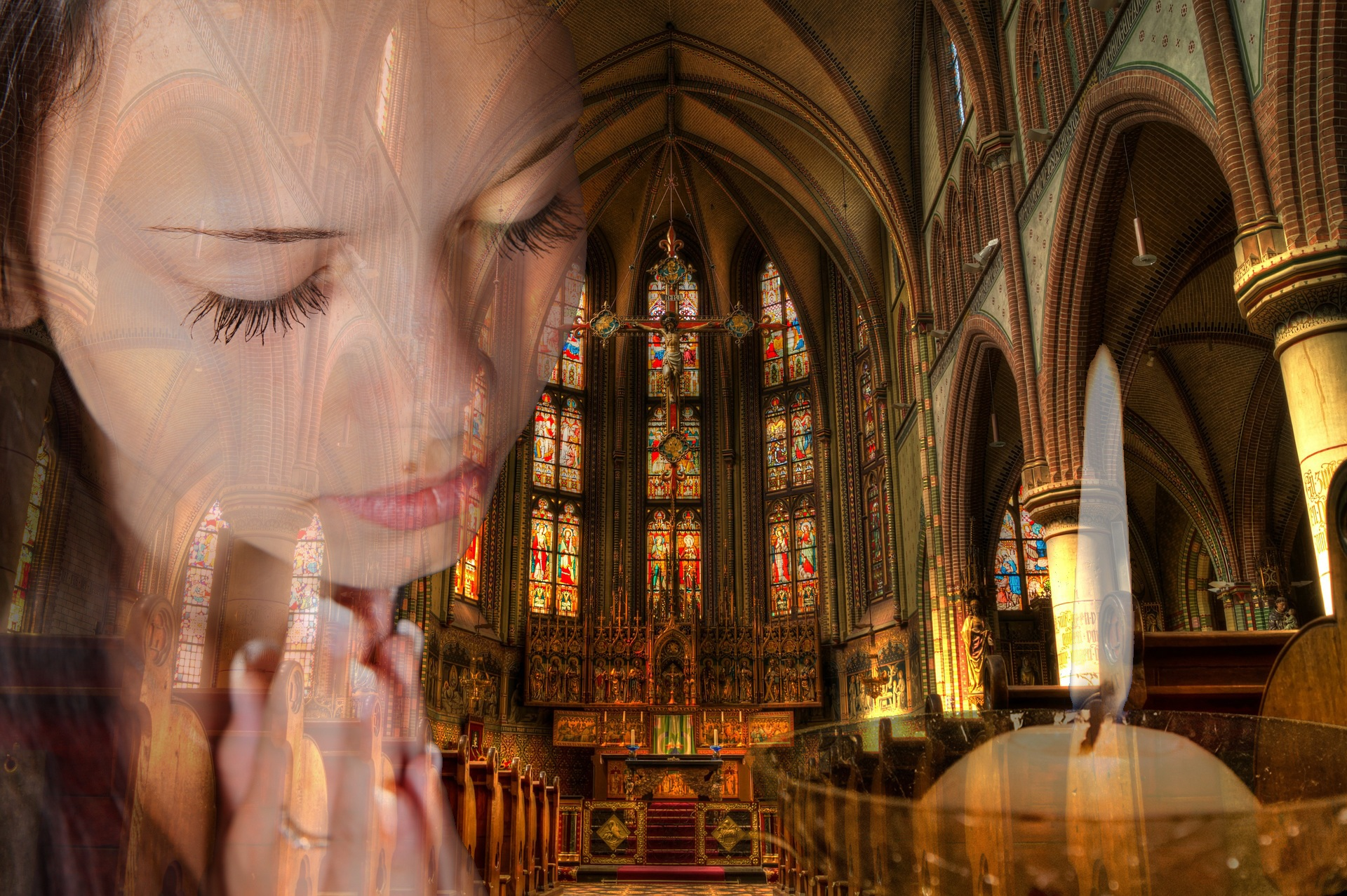 Abstract image of child praying in a church